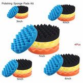 4pcs Sponge Wave Polishing Buffing Pads Kit 3/4/5/6/7 Inch for Car polisher