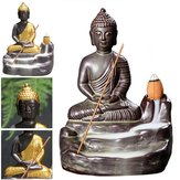 Ceramic Buddha Incense Statue Buddhist Smoke Backflow Cone Censer Burner Holder Home Decor