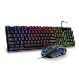 104 Keys USB Wired Gaming Keyboard and Mouse Set Waterproof Silent/Sound Changing Backlight Mouse for Computer Desktop Notebook