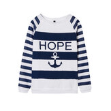 Women Casual Anchor Stripe Long Sleeve Sweatshirt