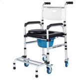 3 in 1 Commode Wheelchair Bedside Mobile Toilet Shower Seat Chair