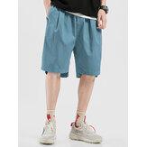 Mens cordão casual respirável cintura elástica fit confortável bolso shorts