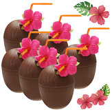 6 sztuk Hawaiian Luau Hula Tropical Plastikowy Party Coconut Cup Drink & Straw Decoration Słomka do picia