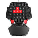 Single Hand Gaming Keyboard USB Wired Keypad 3200 dpi Mouse for PS4 PC Game One-handed Ergonomic Keyboard for Xbox PC Laptop