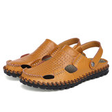 Leather Hollow Men Sandals Slippers Summer Casual Beach Light Weight Soft Breathable Durable