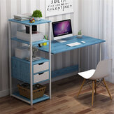 Computer Laptop Desk Writing Study Table Bookshelf Desktop Workstation with Storage Racks & 2 Drawers Home Office Furniture