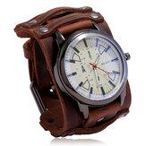 Relógio vintage de couro de vaca estilo militar pulseira ajustável de quartzo masculino