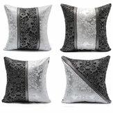 45*45cm Retro Style Square Black Silver Throw Pillow Case Sofa Imitation Leather Cushion Cover