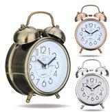 Classic Silencioso Retro Duplo Silencioso Alarme Sino Relógio Movimento de Quartzo Mini Mesa de Cabeceira Quarto Mesa de Luz Noturna Relógio Home Decor