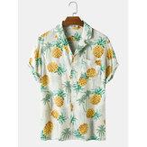 Heren casual ananas print tropische ademende shirts met korte mouwen