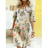 Women Vintage Cotton Floral Plant Print O-neck Half Sleeve Split Casual Dress