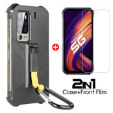 Bakeey 2-IN-1 for Ulefone Armor 11/ Ulefone Armor 11T 5G Case with Anti-Lost Hook Protective Case + 9H Anti-Explosion Tempered Glass Screen Protector