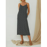 Polka Dot Print Sleeveless Straps Side Pocket Maxi Dress For Women