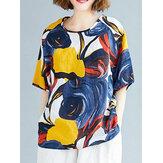 Estampado abstracto Redondo Cuello Media manga holgada informal vendimia Blusas para Mujer