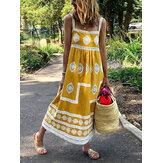 Bohemia Tribal Print Sling Loose Casual Sleeveless Maxi Dresses For Women