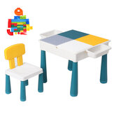 Children Building Blocks Table Chair Set Kids Educational Brain Development Activity Desk Study Writing Game Table for Kids Toddlers
