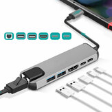Adaptador 6 em 1 Multifuncional Type-C Hub Docking Station com 2 * USB3.0 / HDMI / PD Fast Charge / RJ45 Ethernet Lan Charge para MacBook