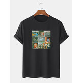 Mens 100% Cotton World Masterpiece Print Crew Neck Short Sleeve T-Shirts