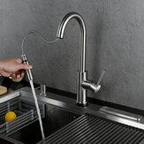 Robinet de cuisine coulissant 304 robinet de cuisine en acier inoxydable pivotant à 360 degrés robinet d'évier anti-éclaboussures robinet mélangeur chaud et froid