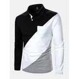 Camisas de golfe tricolor patchwork masculino de manga comprida com bolso no peito