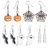 Halloween Decoration Drop Dangle Earrings with Pumpkin Spiderweb Bat Ghost Patterned
