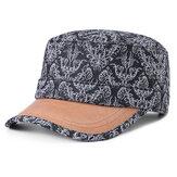Women Men Cotton Print Sunscreen Flat Hats