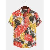 Erkek Tropikal Bitki Baskı Turn Down Yaka Hawaii Tatil Kısa Kollu Gömlek