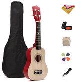 21 Inch Basswood Ukulele Hawaii Instrumento Musical de Guitarra com Sintonizador Bolsa