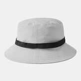 Collrown Solid Color Automatic Buckle Fisherman Hat Breathable Collapsible Bucket Hat