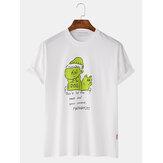 Men Fashion Cartoon Printed Crew Neck Short Sleeve T-Shirts