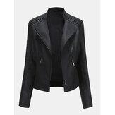 Jaqueta feminina de couro sintético de poliuretano de cor sólida