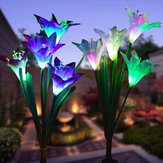 2szt Solar Power 4 LED Lily Flower Lights Multi-Color Zmiana Outdoor Garden Patio Yard Stake Lamps