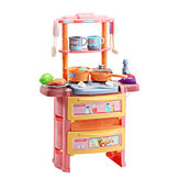 Dream Kitchen Role Play Cooking Children Tableware Toys Set with Sound Light Water Outlet Funtion
