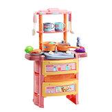 Traumküche Rollenspiel Kochen Kinder Geschirr Spielzeug Set mit Sound Light Wasserauslass Funktion