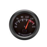 12V Óleo Medidor de temperatura do veículo Medidor Shell preto 2 polegadas 52mm