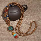 Collier Ethnique en Perles Ancien en Bois Népal Agate pour Homme Femme