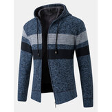 メンズストライプカラーブロックジッパー厚手の暖かい編み物セーターパーカージャケット
