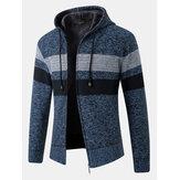 Herre stribe Colorblock lynlås tyk varm strikning sweater hættetrøje jakke