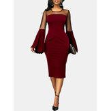 Kadınlar Katı Renk Dikiş Çan Kol Parti Bodycon Midi Elbise