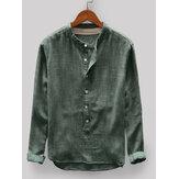 メンズヴィンテージルーズ快適な無地ボタンフライスタンドカラー長袖カジュアルTシャツ