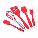 KC-SD6 5 Pieces Non-stick Silicone Baking Set Kitchen Cooking Utensils Spatula Slotted Turner