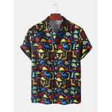 Mens Dinosaur Cartoon Print Turn Down Collar Camisas de manga curta