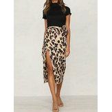 Faldas divididas de leopardo de cintura alta