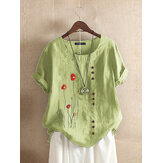 Flower Embroidered O-neck Short Sleeve Button T-shirts For Women