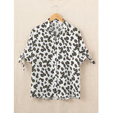 Daisy Print Turn-down Collar Long Adjustable Sleeve Daily Casual Shirts For Women