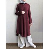 Femmes couleur unie mi-mollet Longueur demi-bouton caftan robe chemise à manches longues