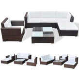 KCASA 6Pcs Fully Equipped Poly Rattan Brown Sofa Sets with Cushions Living Room Furniture