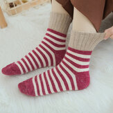 Women Stripe Artificial Rabbit Hair Thicken Winter Warm Sock