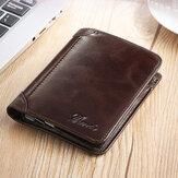 メンズ本物の革ヴィンテージショート財布スリムマネーカードホルダー11カードスロット