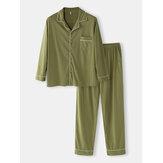 Herren einfarbige Baumwolle Loose Fit Tasche Langarm Casual Home Pyjamas Sets